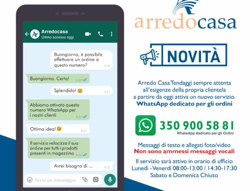 WhatsApp dedicato per gli ordini